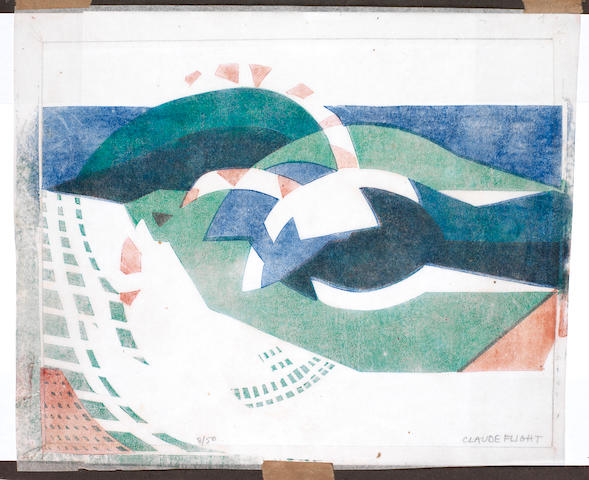 Claude Flight (British, 1881-1955) Breaking Waves  Linocut printed in vermilion, cobalt blue and emerald green, c.1931, on thin off-white oriental laid paper, signed and numbered 8/50 in pencil, 234 x 300mm (9 1/4 x 12in)(I)