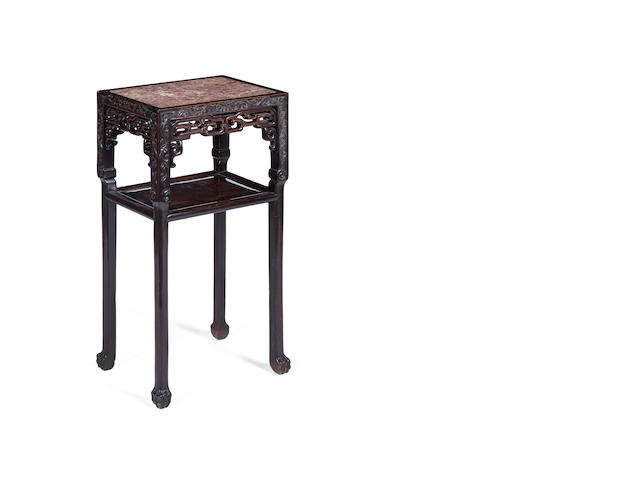 A pair of marble topped side tables  Late 19th century