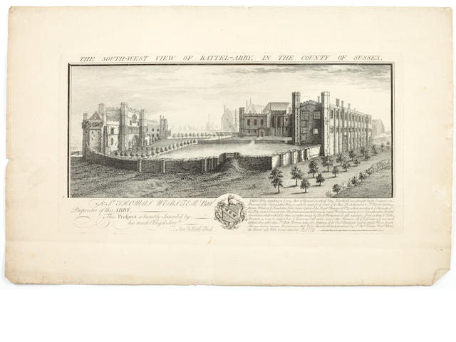 Samuel & Nathaniel Buck (British) Twenty four views of castle and ecclesiastical buildings to include Esher Place, Cowes Castle, Battle Abbey and Dartmouth Castle copper engravings, variously dated 1726-1741 19 x 37cm and four 19th century portrait prints. (unframed)