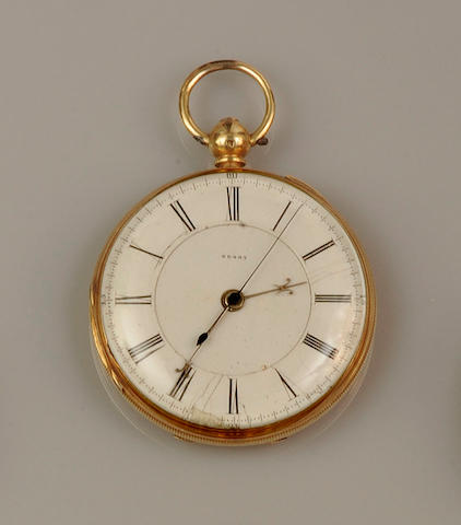 An 18ct gold open face keyless wind pocket watch