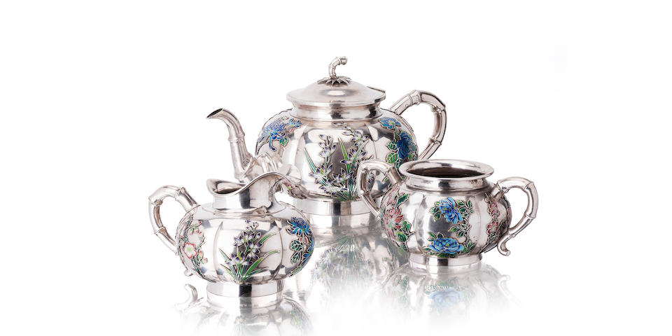An enamelled white metal (Chinese silver) tea service Circa 1900