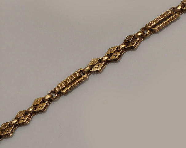 A 9ct gold fancy-link guard chain
