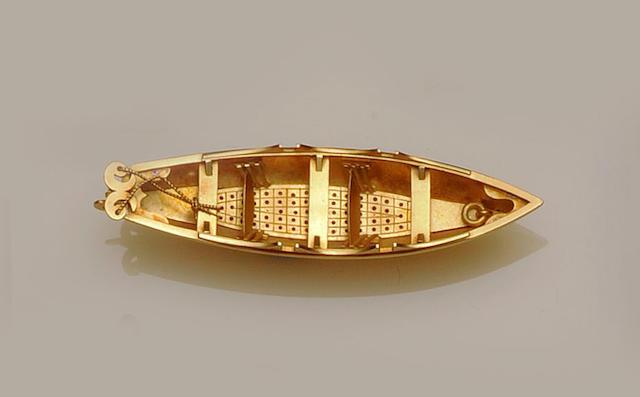 A Victorian boat brooch
