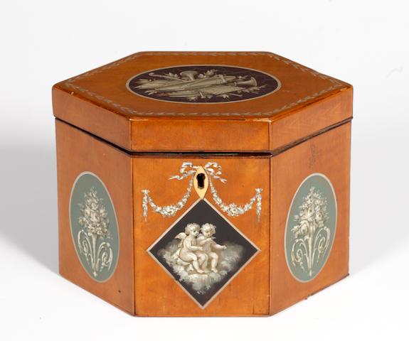 A 19th Century hexagonal satinwood tea caddy