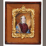 English School, circa 1840 Two portrait miniatures of Ladies: the first, wearing claret coloured dress with matching ribbon bow at her neckline and white lace collar, blue embroidered shawl draped around her arms, her hair parted and curled in loose ringlets; the second, wearing olive green coat and pale green dress, white lace collar and coral pink neck tie, her hair parted and braided