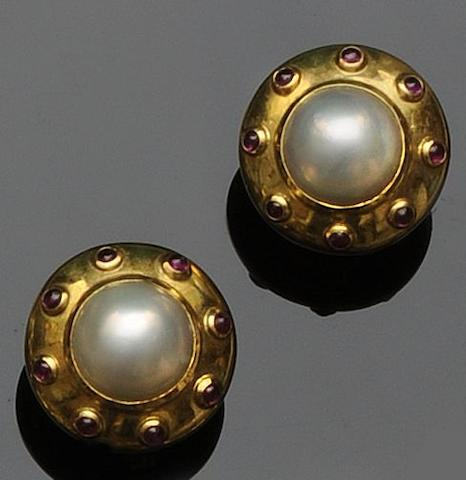 A pair of cultured pearl and ruby earstuds, by Theo Fennell
