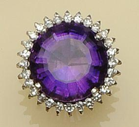 An amethyst and diamond cluster ring