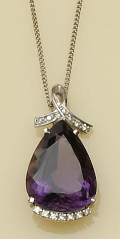 An amethyst and diamond pendant