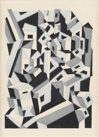 Edward Wadsworth (British, 1889-1949) Riponelli- A Village in Lemnos Woodcut, 1917, on wove, 100 x 75mm (4 x 3in) (SH)