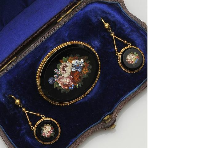 A late 19th century micro-mosaic brooch and earring suite