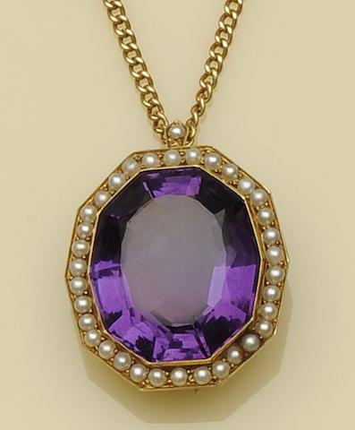 An amethyst and seed pearl pendant necklace