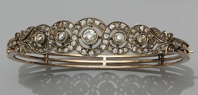 A late 19th Century diamond bangle