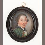 English School, circa 1760 A Gentleman, wearing green coat with gold buttons and piping, matching waistcoat, white frilled chemise and stock, black sash ribbon tucked into his chemise, his natural wig worn en queue and tied with a black ribbon bow