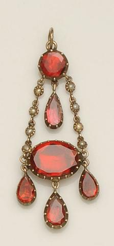A Georgian garnet and pearl pendant