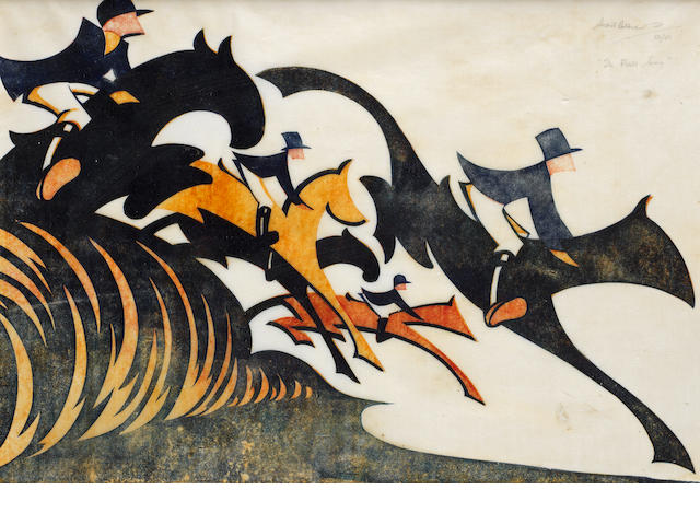 Sybil Andrews, CPE (British/Canadian, 1898-1993) In Full Cry Linocut, 1931, printed in Chinese orange, spectrum red and Prussian blue, on buff oriental laid tissue, signed, titled and numbered /50 in pencil, 290 x 420mm (11 3/8 x 16 1/2in)(B)