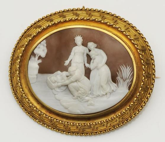 A Victorian oval shell brooch
