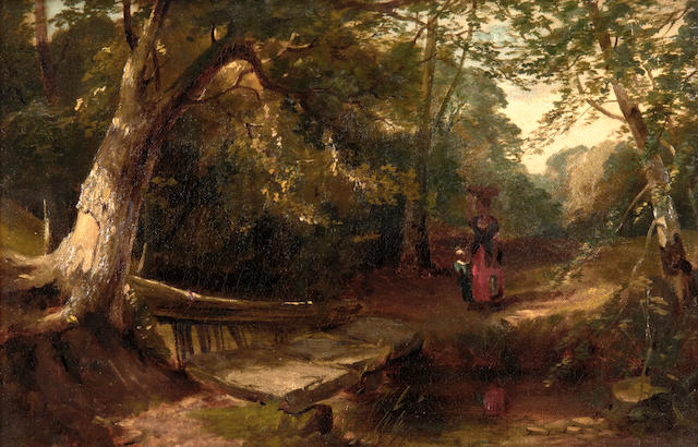 Attributed to Henry Bright (British, 1810-1873) Woman and child in a woodland