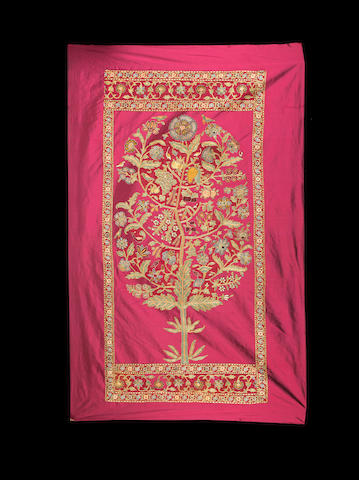 A 'Tree of Life' embroidered textile formerly in the collection of Prince Victor Duleep Singh North India, 19th Century
