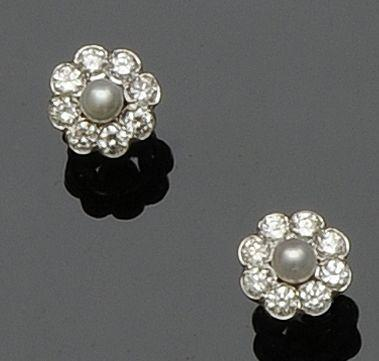 A pair of diamond and cultured pearl cluster earstuds