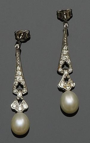 A pair of diamond and cultured pearl pendant earrings