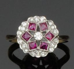 A ruby and diamond set cluster ring