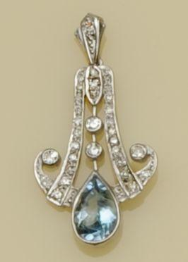 An Art Deco style aquamarine and diamond pendant