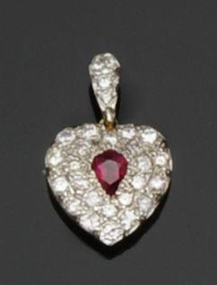 A diamond and ruby heart-shaped pendant