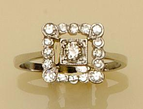 A square set diamond ring