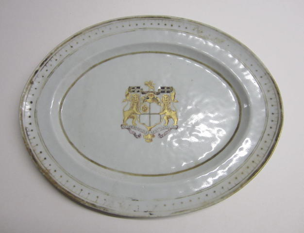 An oval armorial dish Circa 1816