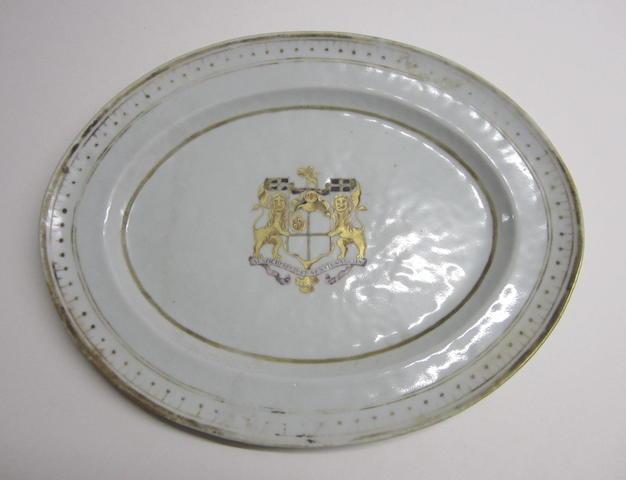 An oval armorial dish