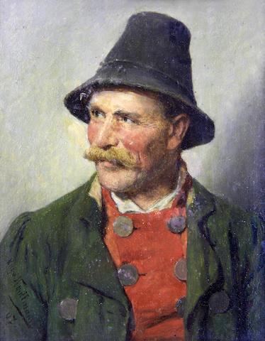 Hugo Wilhelm Kauffmann (German, 1844-1915) A pair of portraits  each 14.5 x 11.5cm (5 11/16 x 4 1/2in), (2).