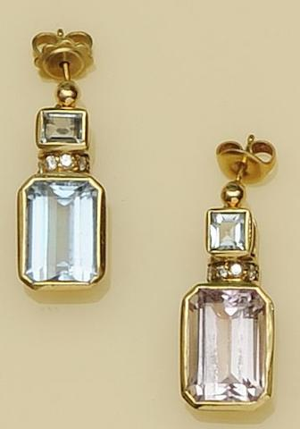 A pair of aquamarine, kunzite and diamond earpendants