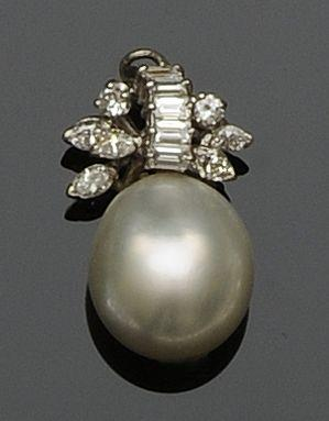 A baroque pearl and diamond pendant