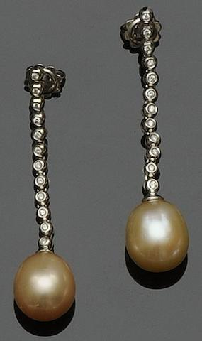 A pair of baroque pearl and diamond earpendants