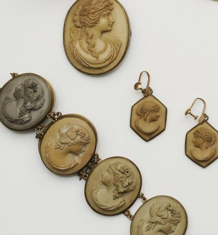 A collection of lava cameo jewellery