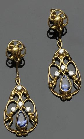 A pair of sapphire and diamond earpendants,  by Valerie Pitchford