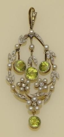 An Edwardian and later diamond, peridot and seed pearl pendant