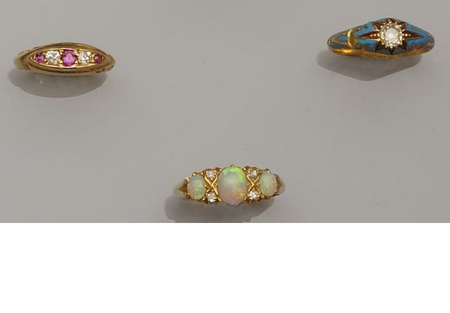 An opal and diamond half hoop ring (3)