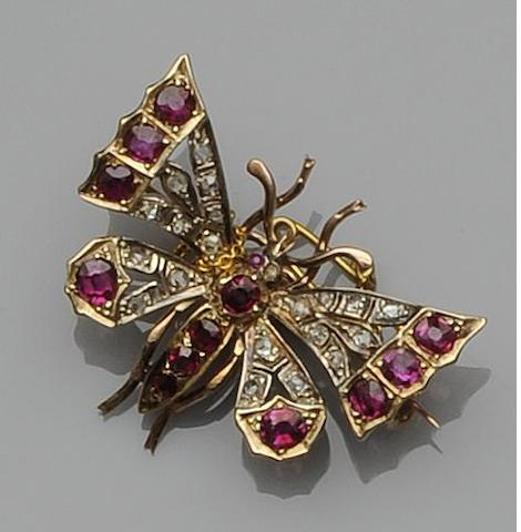 A late 19th century ruby and diamond butterfly brooch