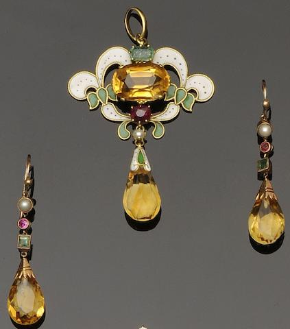 An enamel and vari gem-set pendant (3)