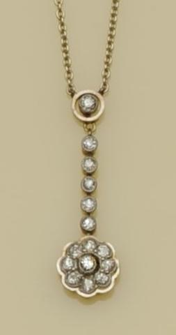 A diamond flowerhead cluster pendant