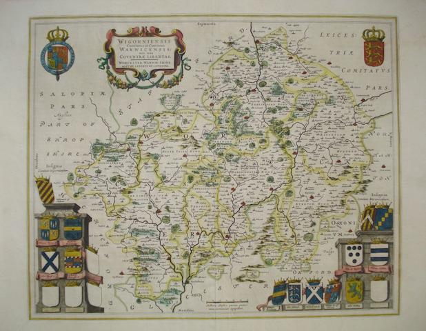 CATHEDRAL CITIES BLAEU (JAN) Wigorniensis comitatus et comitatus Warwicensis nec non Coventrae libertas; Herefordia comitatus, [1645, or later]; and 5 others (7)