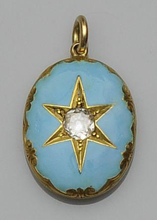 A diamond set enamelled locket
