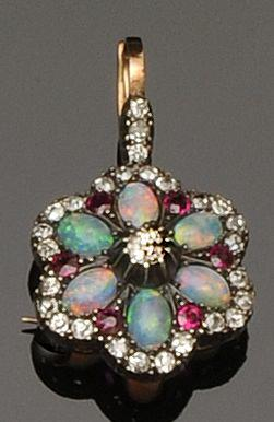 An opal, ruby and diamond brooch/pendant