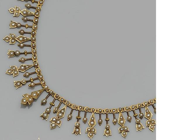 A late Victorian seed pearl fringe necklace