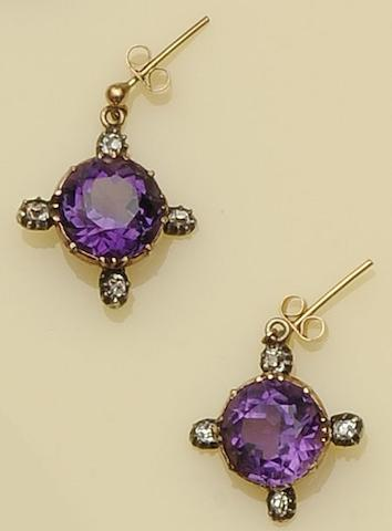 A pair of amethyst and diamond drop earpendants