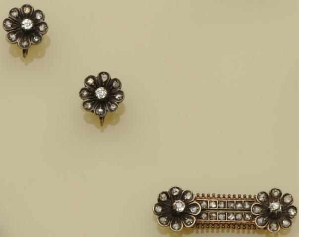 A Victorian diamond brooch and earring suite