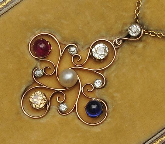 A multi gem set pendant necklace