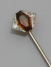 An Art Deco citrine and diamond stick pin