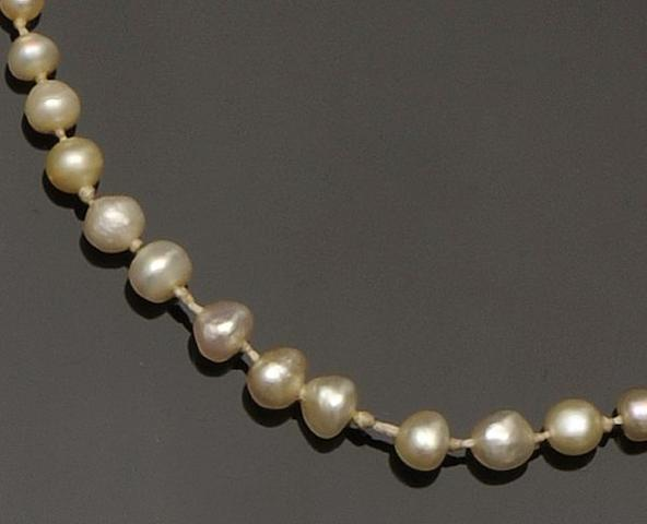 A natural pearl single row graduated pearl necklace